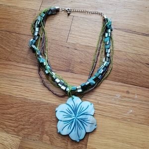 Aloha Hawaiian Flower Turquoise Beads Necklace